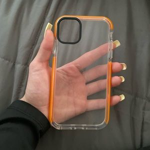 Clear and orange iPhone 11+ case